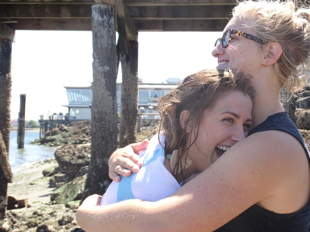 Elizabeth and Taige embrace after wrapping up the last of the filming.